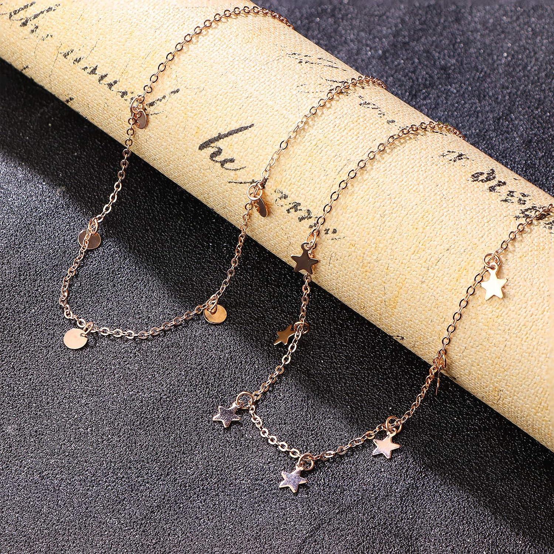 sailimue Collares Dobles de Acero Inoxidable para Mujeres Ni/ñas Collar Delicado con Colgantes de Peque/ña Estrella Moneda Cadena de Clav/ícula Collar Regalo