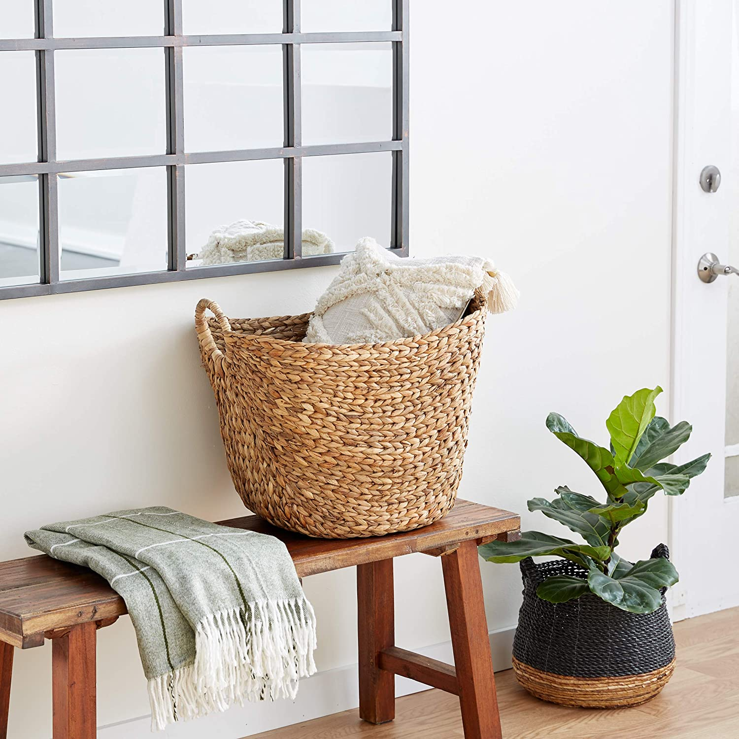 Deco 79 Large Seagrass Woven Wicker Basket With Arched Handles Rustic Natural Brown Finish As Coastal Decorative Accent Or Storage 21 W X 17 L X 17 H