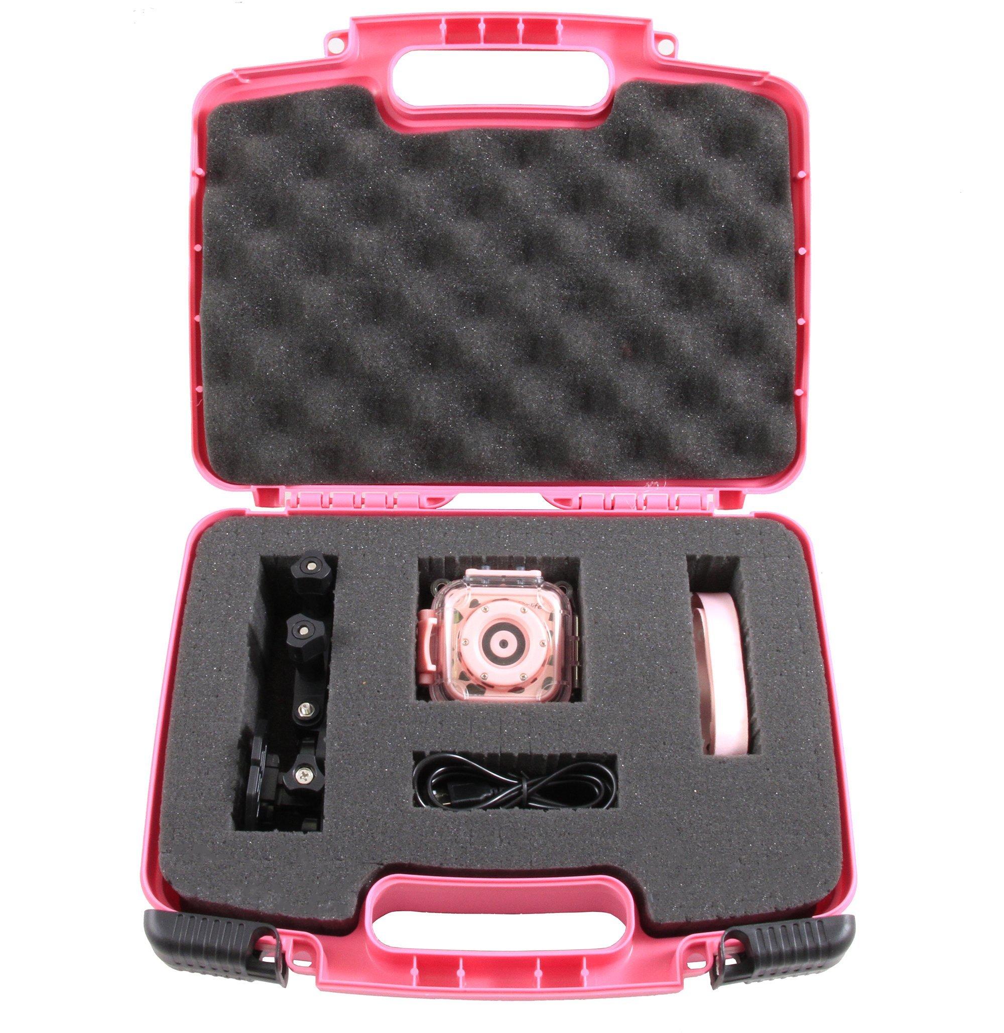 CASEMATIX KIDCASE Pink Kids Waterproof Camera Case Fits Ourlife Kids Waterproof Camera Video Camera, Ourlife Memory Card Accessories In Customizable Foam
