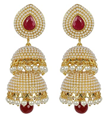{Special 20% Discount} MuchMore Amazing Style Ruby Pearl Stone Polki Earrings Partywear Jewellery JZr3oxhPua