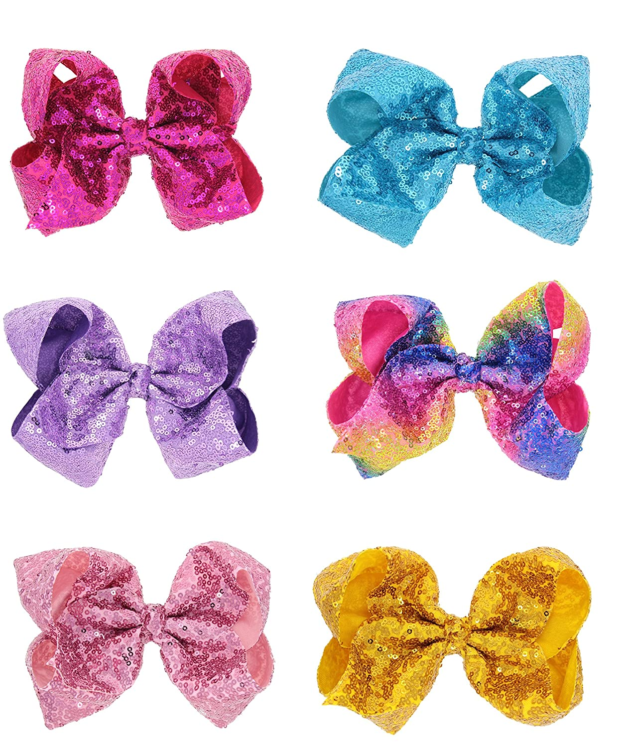 8Inch Large Colorful Bow Hair Clips Barrettes for Baby Girl Toddlers Kids Women