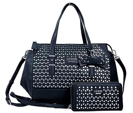 Amazon.com  GUESS Women s Bernwell Cutout Satchel   Wallet Set Black ... bf66caa3b8c79