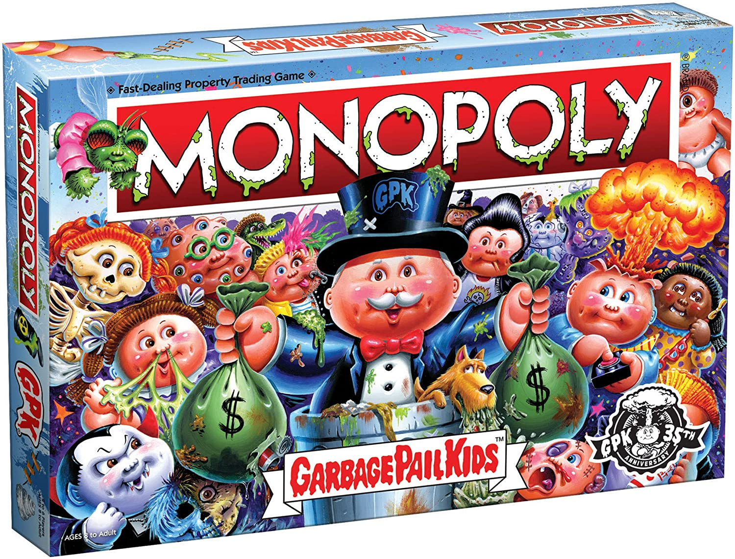 Monopoly Garbage Pail Kids   Based on Topps Company Garbage Pail Kids Trading Cards   Collectible Monopoly Game   Officially Licensed Garbage Pail Kids Game