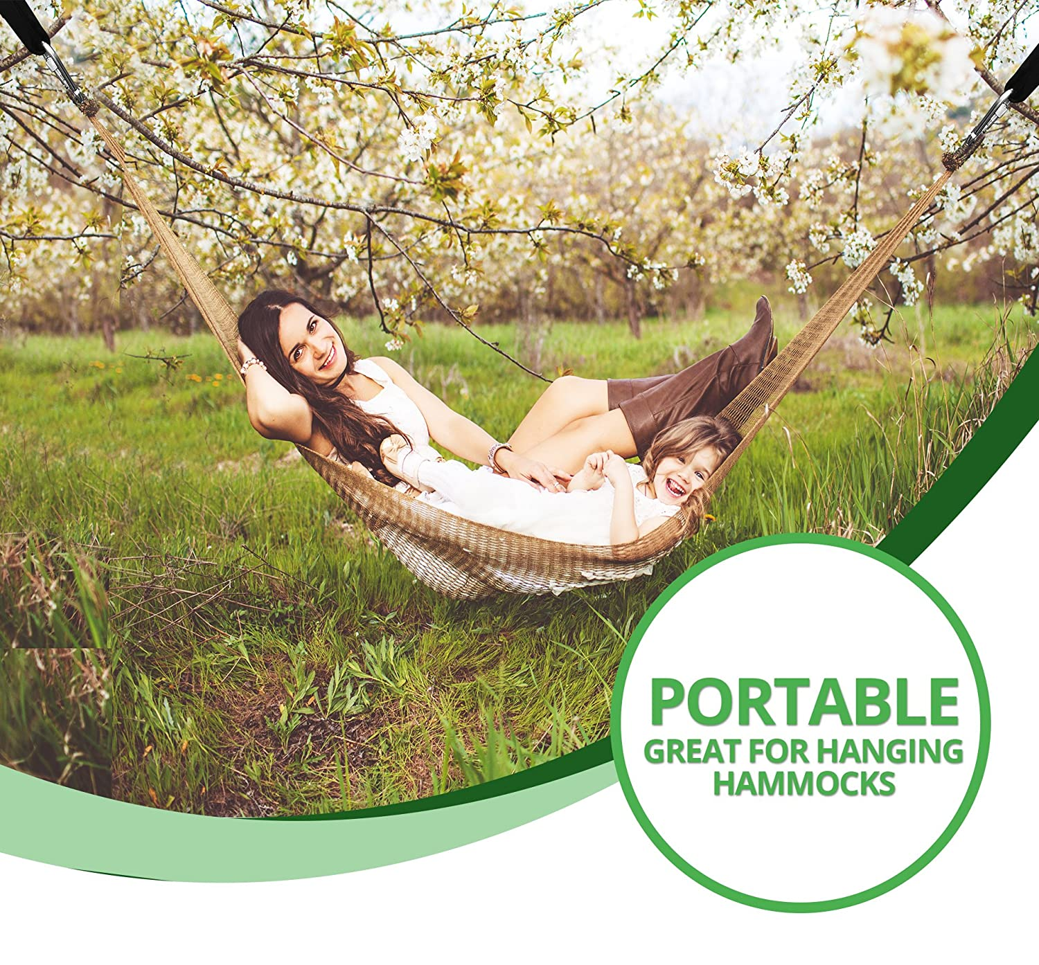 Perfect for Tire and Saucer Swings Holds 4400lbs TREE SWING STRAP X2 Easy Picture Instructions - Heavy Duty Carabiner 100/% Waterproof Bonus Spinner Royal Oak EASY HANG Carry Bag Included 4FT