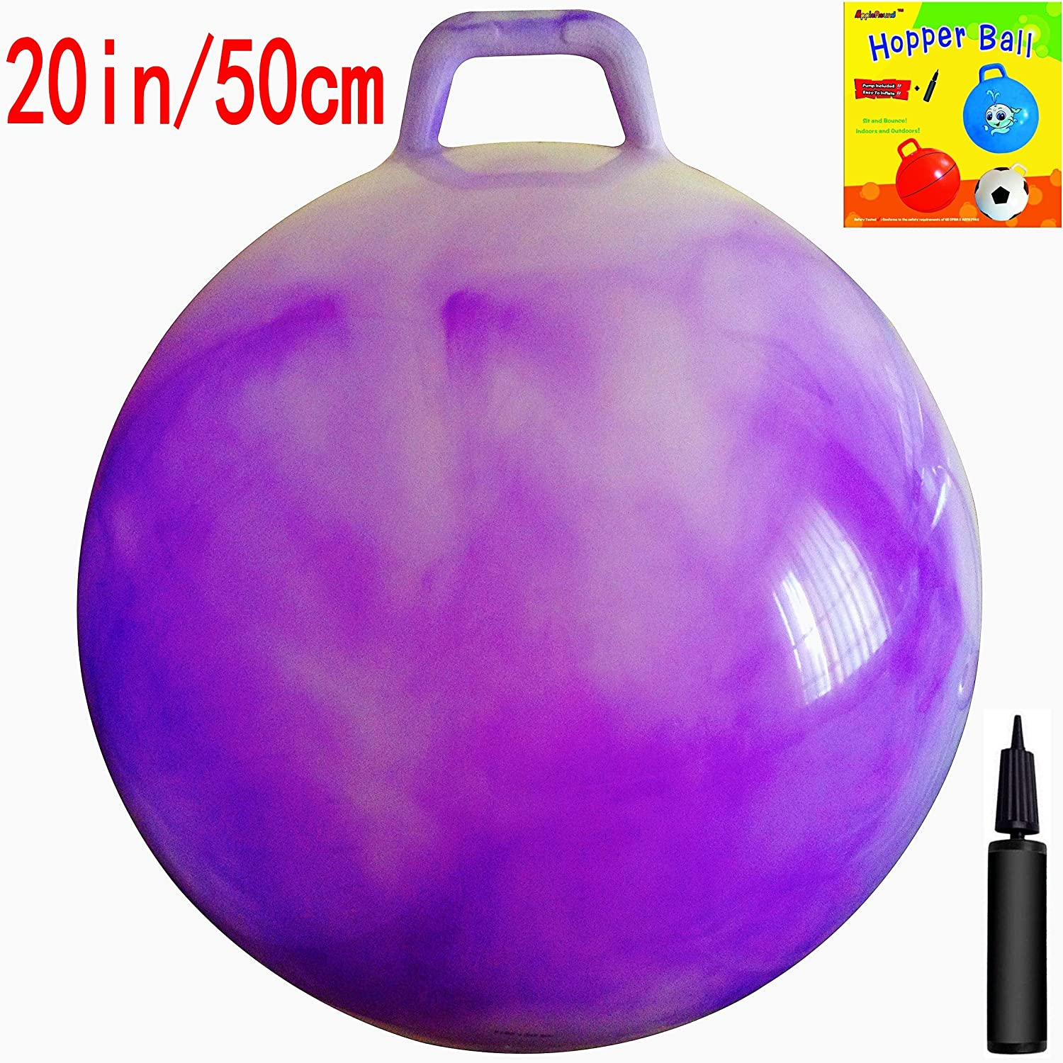 AppleRound Space Hopper Ball with Air Pump 20in 50cm Diameter for Ages 7 9 Hop Ball Kangaroo Bouncer Hoppity Hop Jumping Ball Sit Bounce