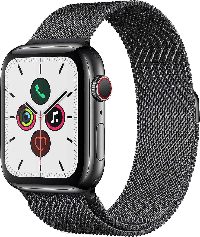 Apple Watch Series 5 (GPS+Cellular, 44 mm) Acero Inoxidable en Negro Espacial con Milanese Loop Negro Espacial