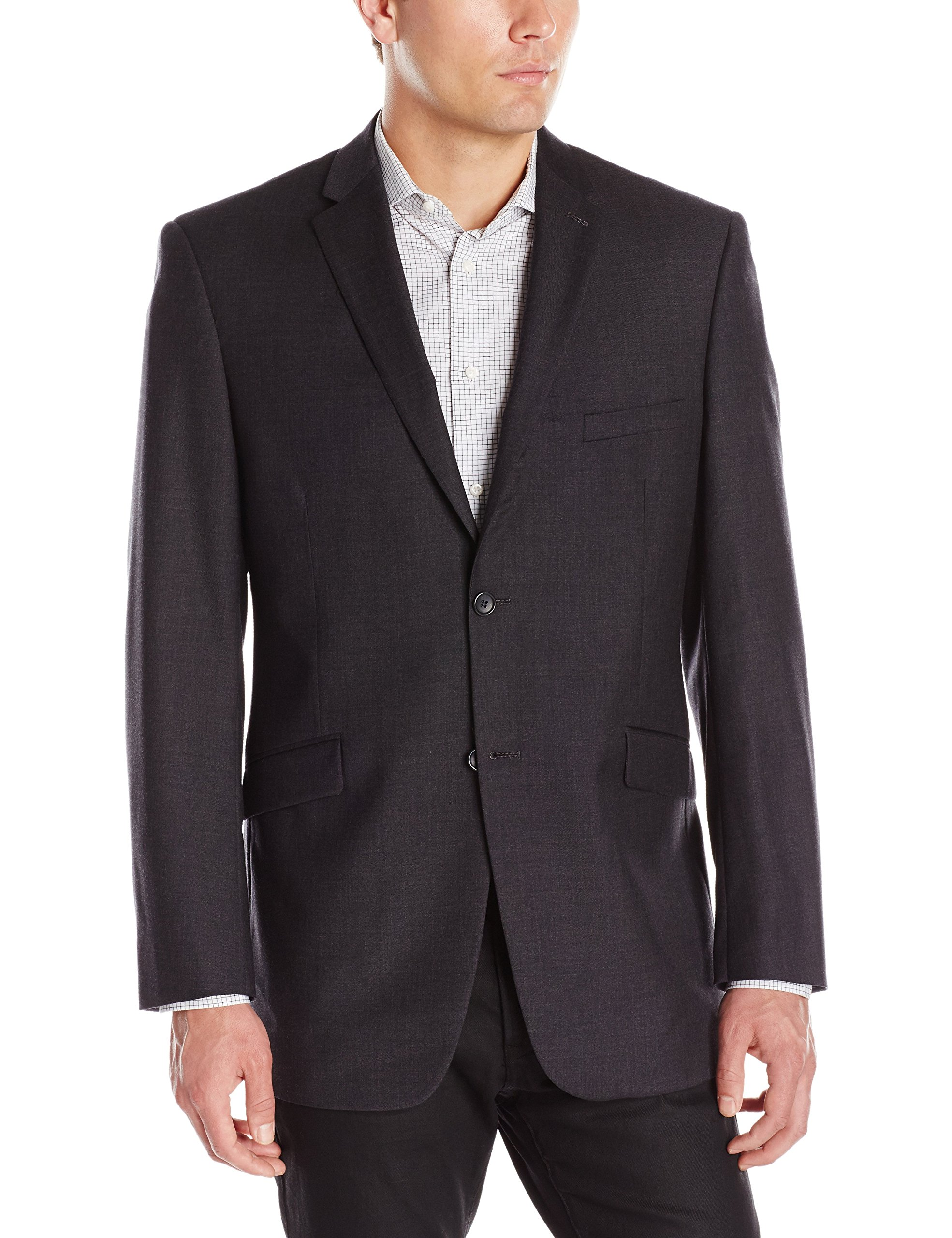 Adolfo Men's Wool and Cashmere Modern Fit Suit Jacket, Charcoal, 44 Long by Adolfo