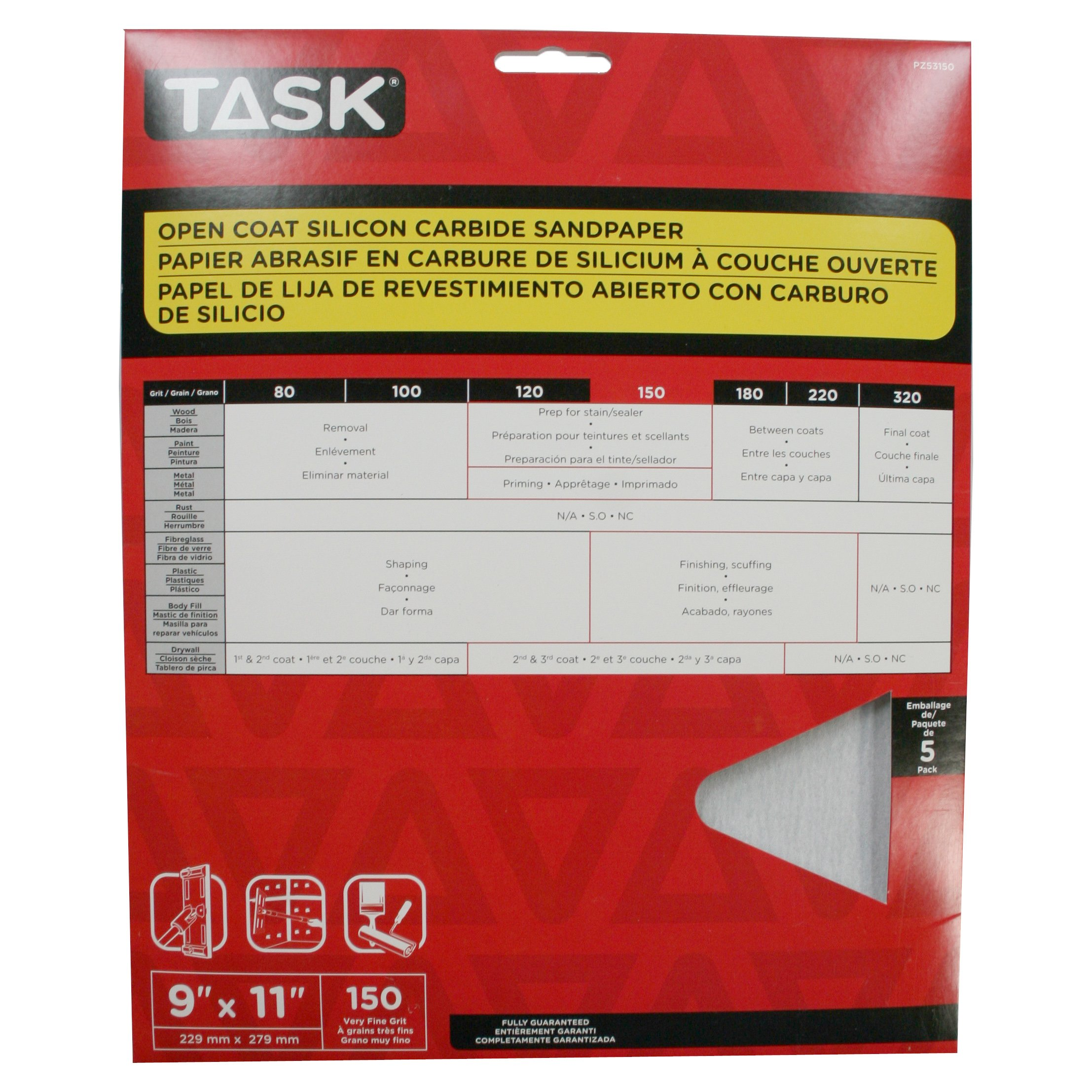 Task Tools PZ53150 9-Inch by 11-Inch Open Coat Drywall Sandpaper, 150 Grit, 5-Pack
