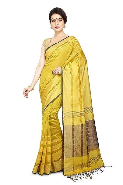 2889590fb2929b Wooden Tant Phulia Yellow Silk Zari Work Saree for Women  Amazon.in   Clothing   Accessories