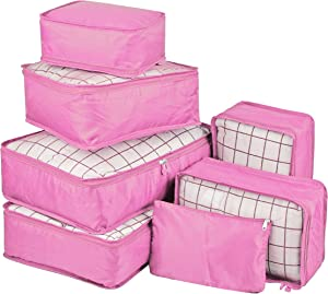 Vercord 7 Set Travel Packing Organizers Cubes Mesh Luggage Cloth Bag Cubes with Bra Underwear Cube and Shoe Pouch, Pink