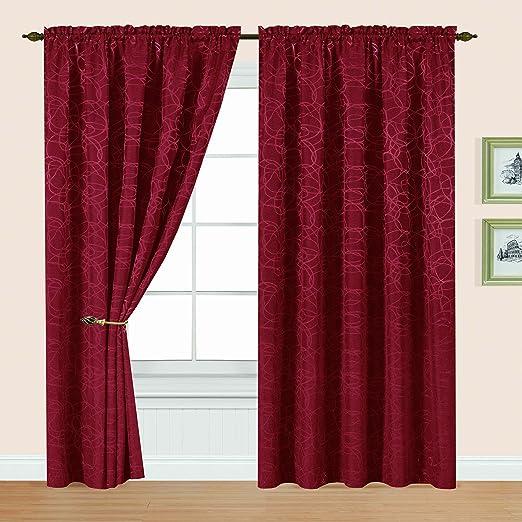 Editex Home Textiles Splendid Window Panel 56 by 84-Inch Burgundy Editex Home Curtain 714P8430 Home