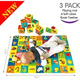 MACIK PlayingMat+6 soft blocks for baby Toy SET+Book-teether-rattle-crinkle-squeak- Baby teething toys infant toys 3-6 months Baby stacking toys 9 month baby toys Newborn toys baby Soft toys Chew toys
