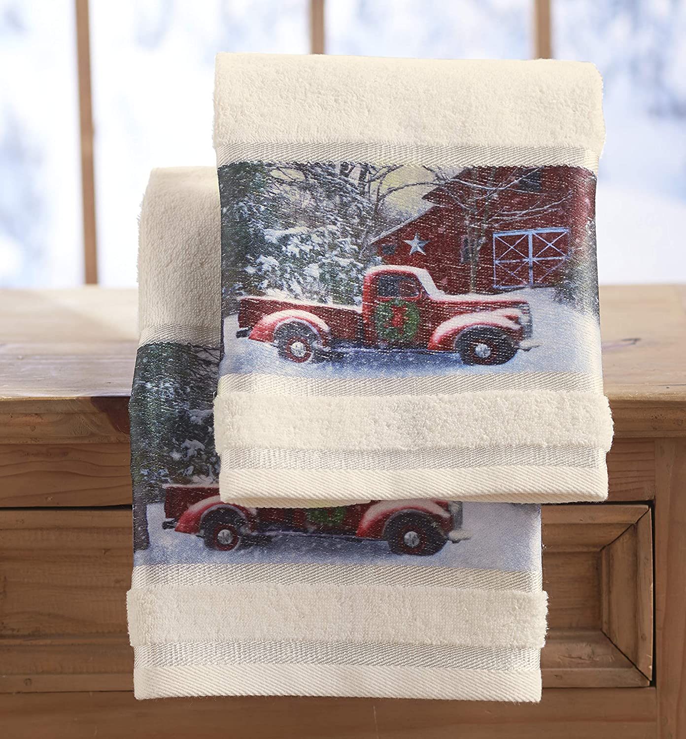 Amazon Com The Lakeside Collection Christmas Hand Towels With Decorative Red Truck Print Set Of 2 Home Kitchen