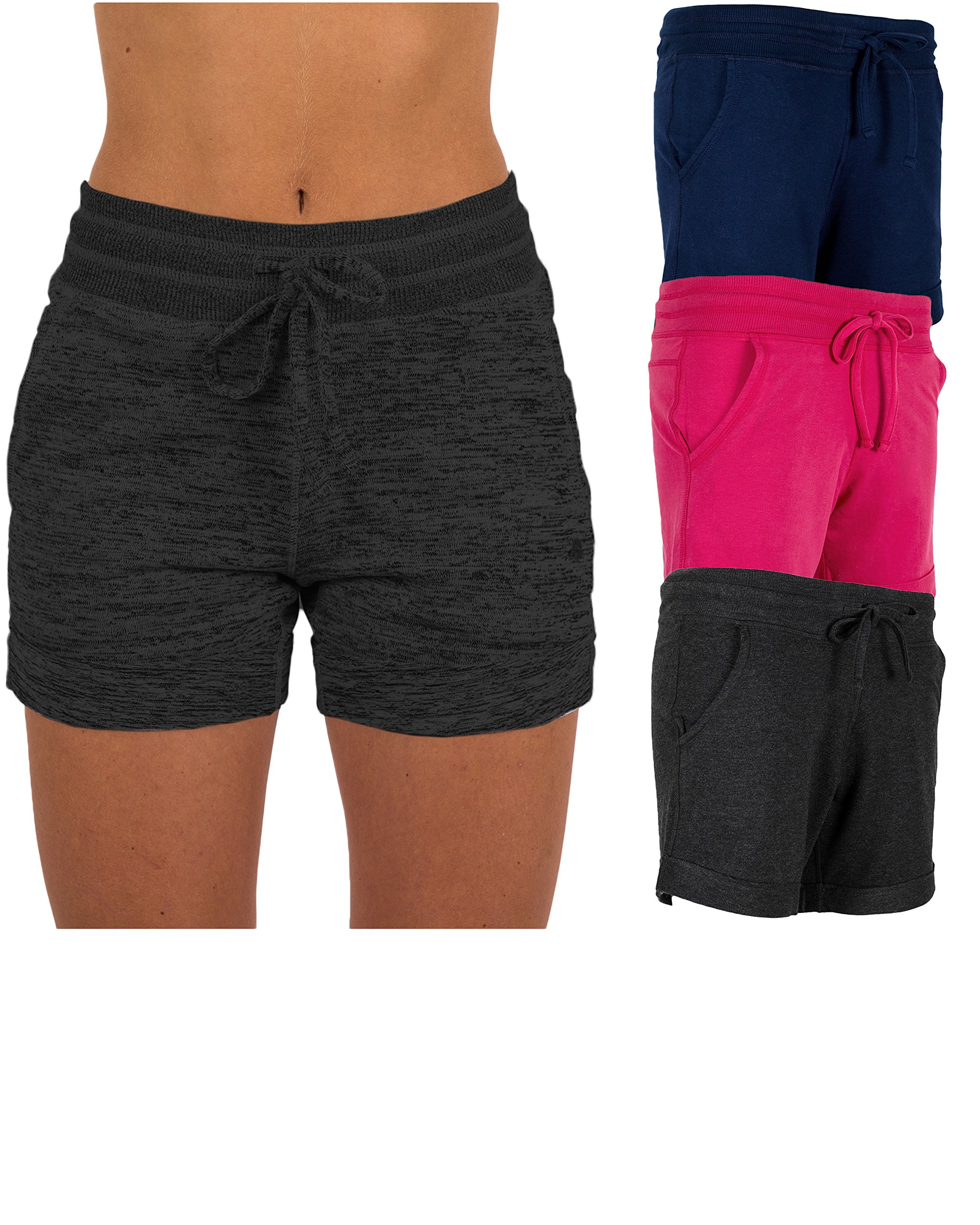 Sexy Basics Women's 3 Pack Active Wear Lounge Yoga Gym Casual Sport Shorts (3 Pack -Navy/Charcoal/Pink, X-Large)