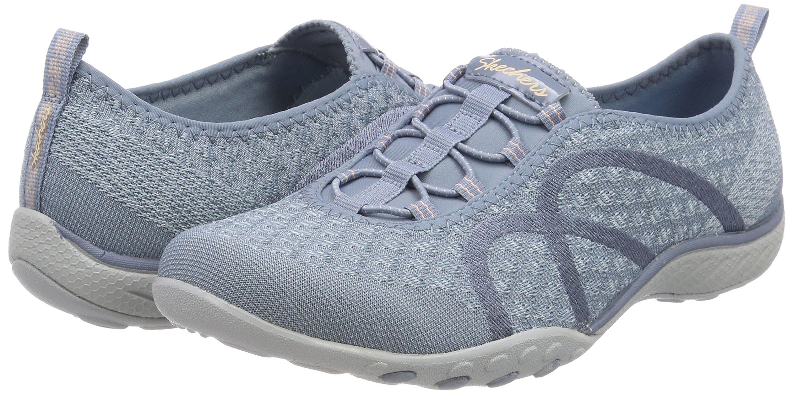 Skechers Relaxed Fit Breathe Easy Fortune Knit Womens Bungee Sneakers Blue 8 by Skechers (Image #5)