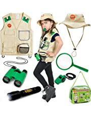 Born Toys 7 Piece Premium Outdoor Exploration Kit and Safari Costume for Nature and Pretend Play. Includes Crossover-Bag by