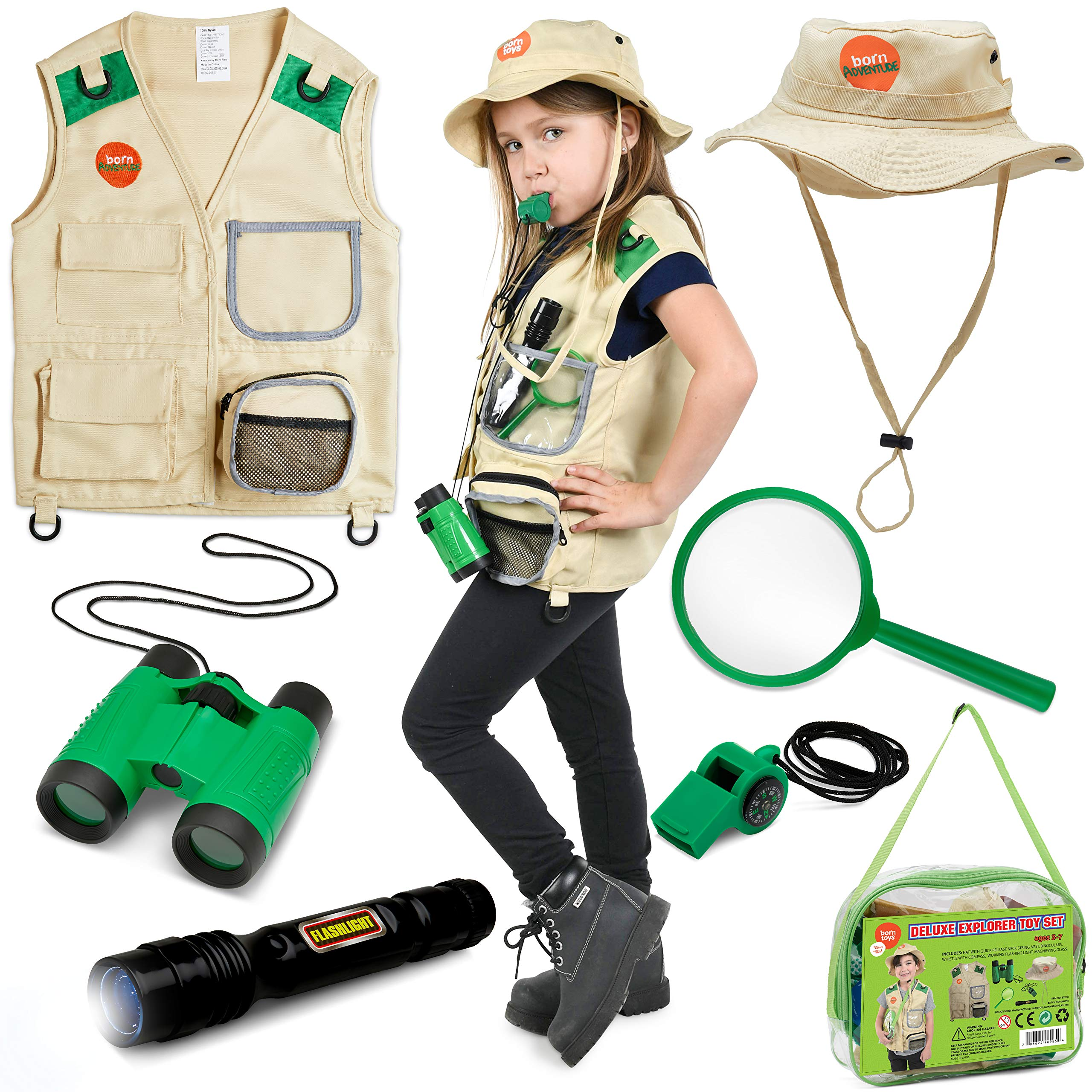 Born Toys Explorer Kit for Kids Children's Toy with Washable Premium Backyard Safari Vest and Adventure kit or Paleontologist Costume