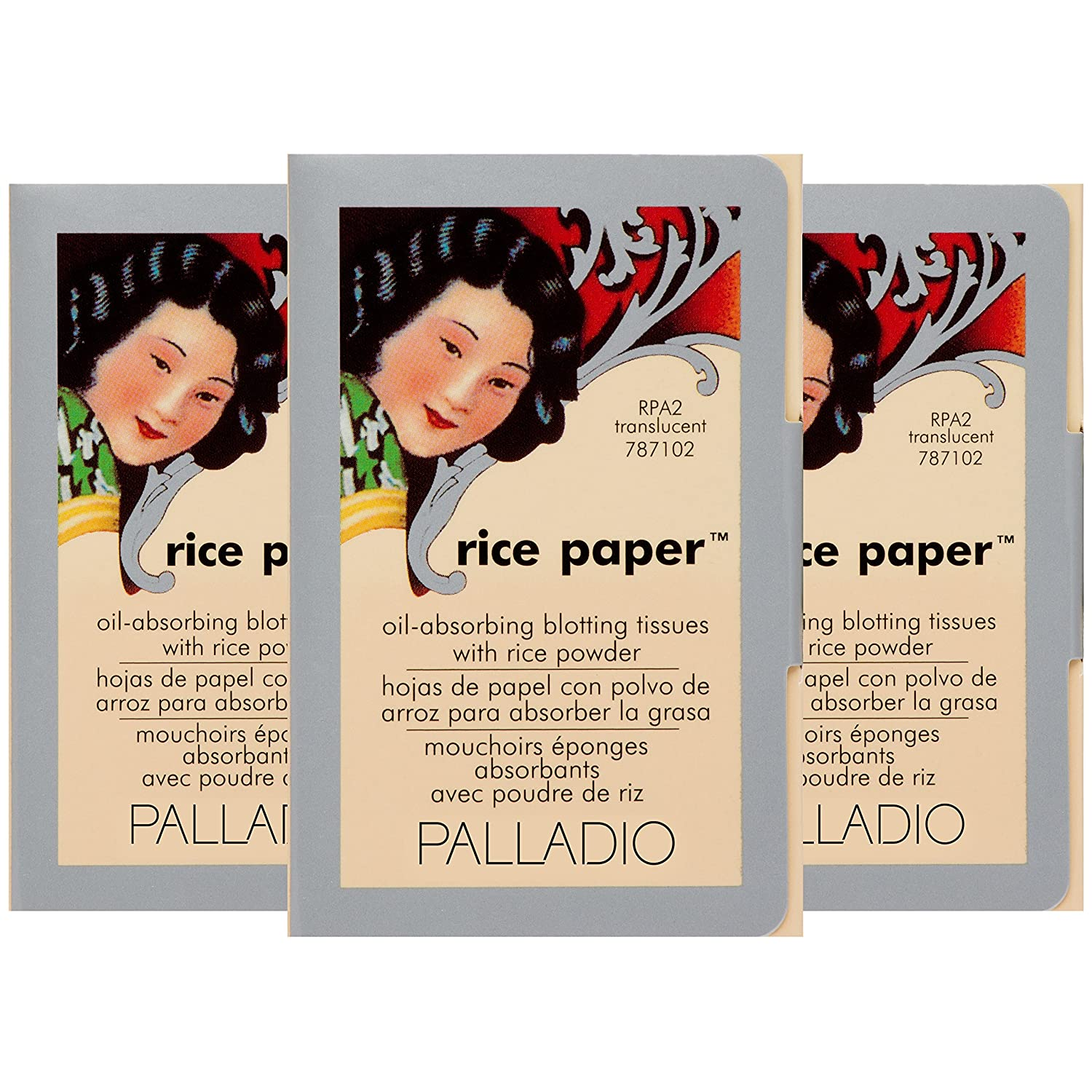 Palladio Rice Paper Tissues, Translucent, 40 Sheets (Pack Of 3), Face Blotting Sheets With Natural Rice Powder Absorbs Oil, Helps Skin Stay Looking Fresh And... by Palladio