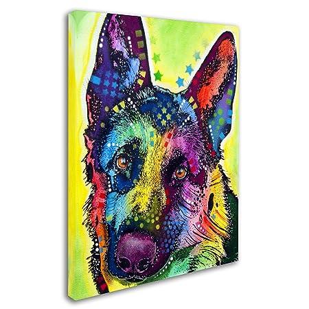 Trademark Fine Art German Shepherd Artwork by Dean Russo, 18 by 24-Inch