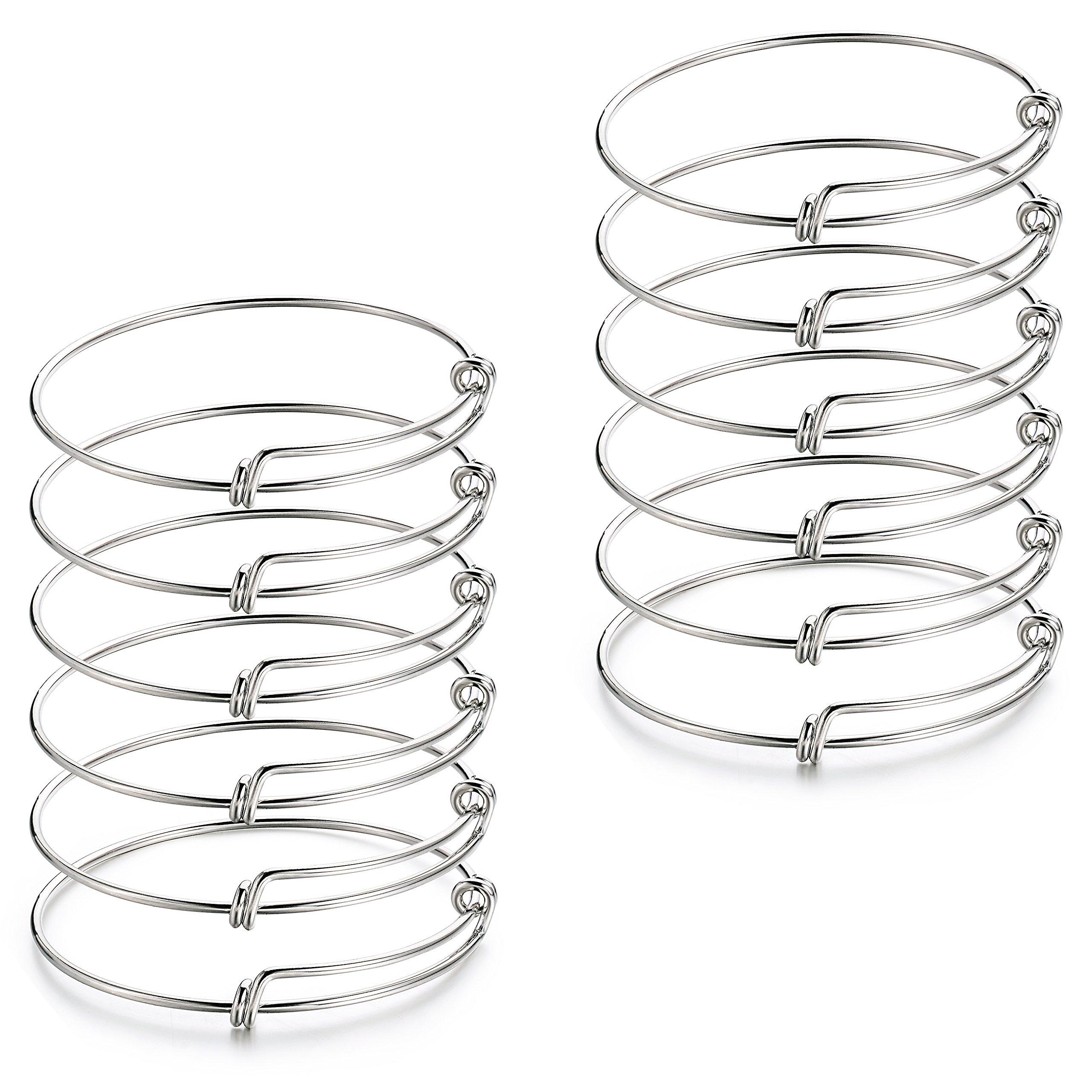 2.6 inch 12 pcs Expandable Adjustable Wire Blank Charms Bangle Bracelet for Women,Men, DIY Jewelry Making by ZC LI JEWELRY