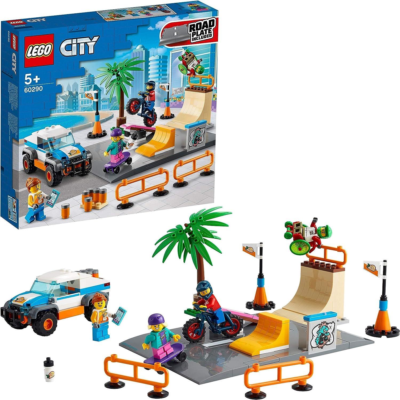 LEGO 60290 City Pista de Skate Set de Construcción con Monopatín, Bici BMX, Camión de Juguete y Figura de Atleta en Silla de Ruedas