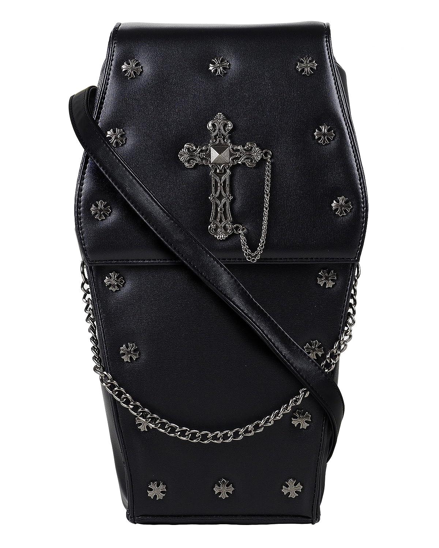 GOTHX Black Coffin Metal Silver Cross | Steam Punk Rock Goth Gothic Backpack Cross Body Handbag | PU Vegan Leather Bag