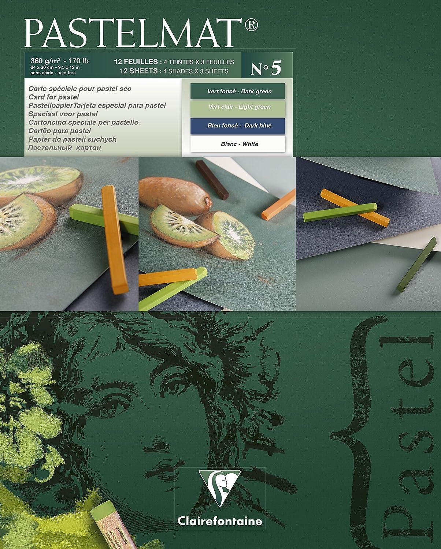 Clairefontaine Pastelmat - Cartoncino con superficie speciale per pastelli, 360 g, 12 fogli, 4 sfumature di colore