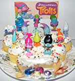 """Dreamworks Trolls Movie Deluxe Mini Cake Toppers Cupcake Decorations Set of 17 with Figures and """"Treasure Troll"""" Jewels Featuring Princess Poppy, Branch and More!"""