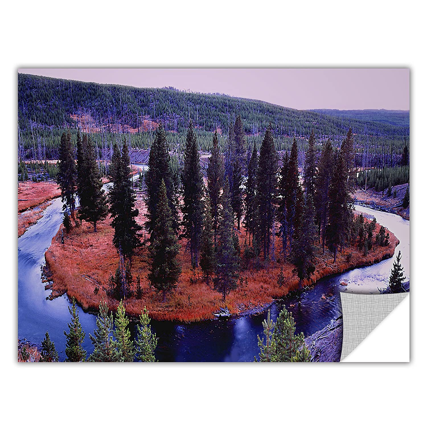ArtWall ArtApeelz Dean Uhlinger Dusk Meander Yellowstone Removable Wall Art Graphic 12 by 18-Inch
