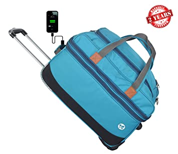 3G Atlantis Smart Series Polyester 20 Inch USB Charging Expandable Cabin Black Trolley Suitcase for Unisex