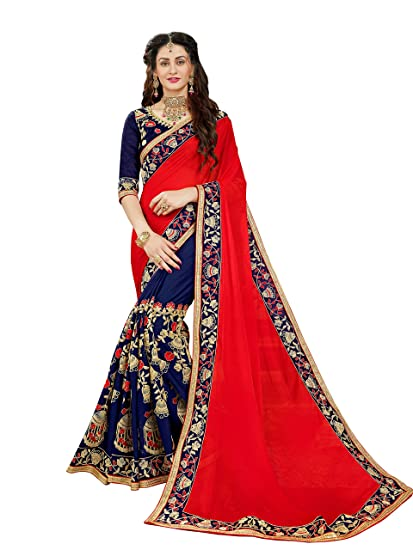 46c16f761a3c71 Image Unavailable. Image not available for. Colour  Manohari Embroidery Red  Georgette Saree