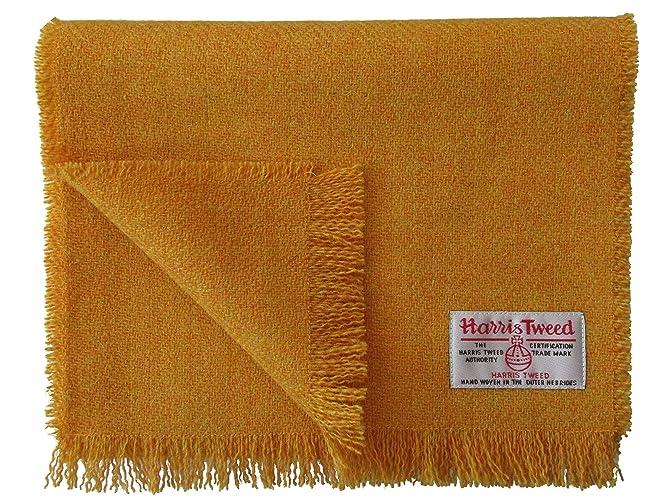 Harris Tweed Pure Wool Luxury Mustard Yellow Scarf  Amazon.co.uk ... 7e55e2e34cd