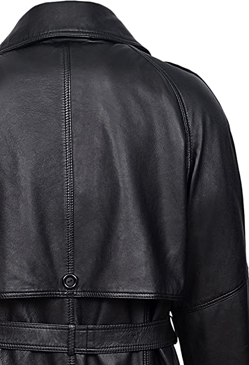 Men/'s Black Knee Length Real Nappa Leather Casual Leather Jacket Coat 3476