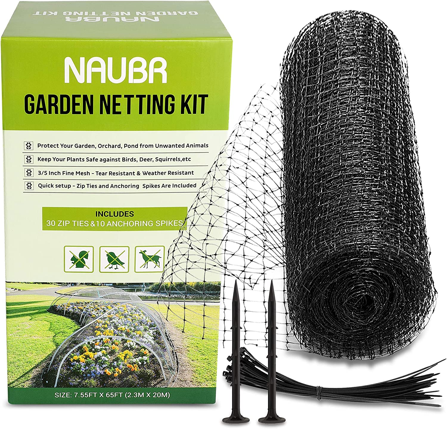"Naubr Garden Netting Kit 7.55 x 65ft Bird Netting 3/5"" Mesh Heavy Duty Net for Garden, Farm, Orchard, Lasting Protection Against Birds, Deer and Other Pests,Zip Ties & Anchoring Spikes Included"