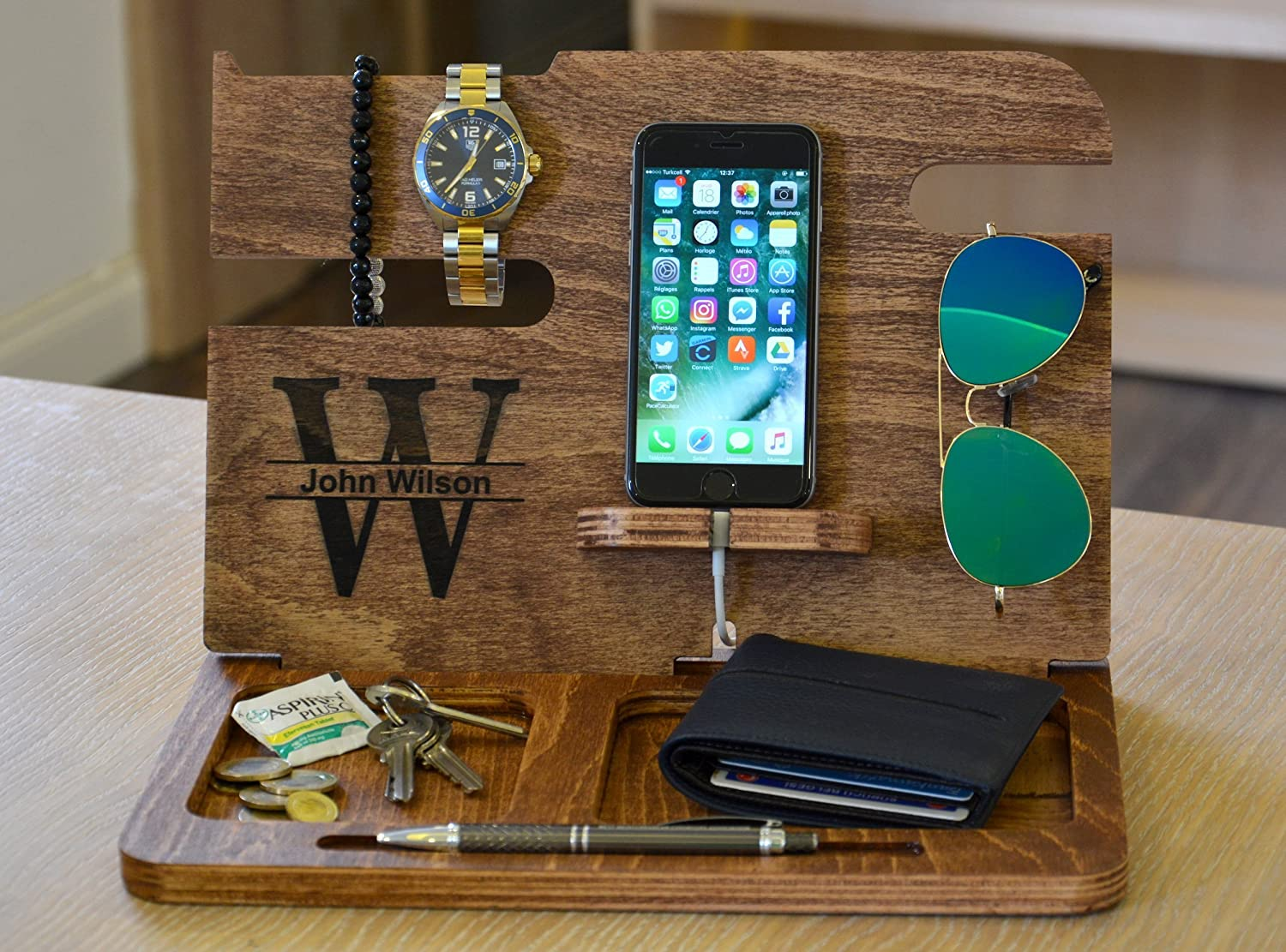 Phone Dock Fathers Day gifts Phone Docking Station Cell Phone Dock Mens gifts Mens Wood Organizer Gift ideas for men Boyfriend gift
