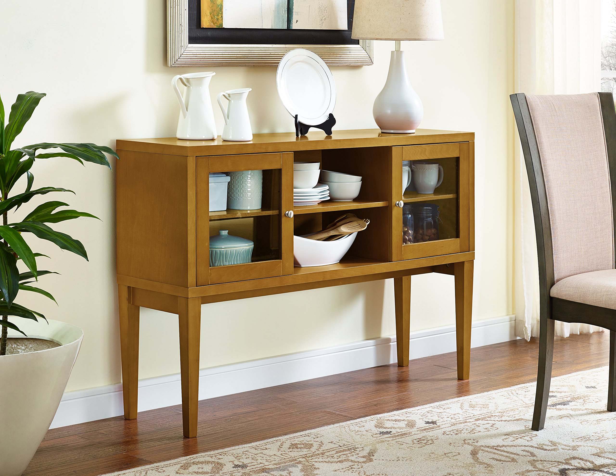 WE Furniture 52'' Wood Buffet with Tapered Legs - Acorn