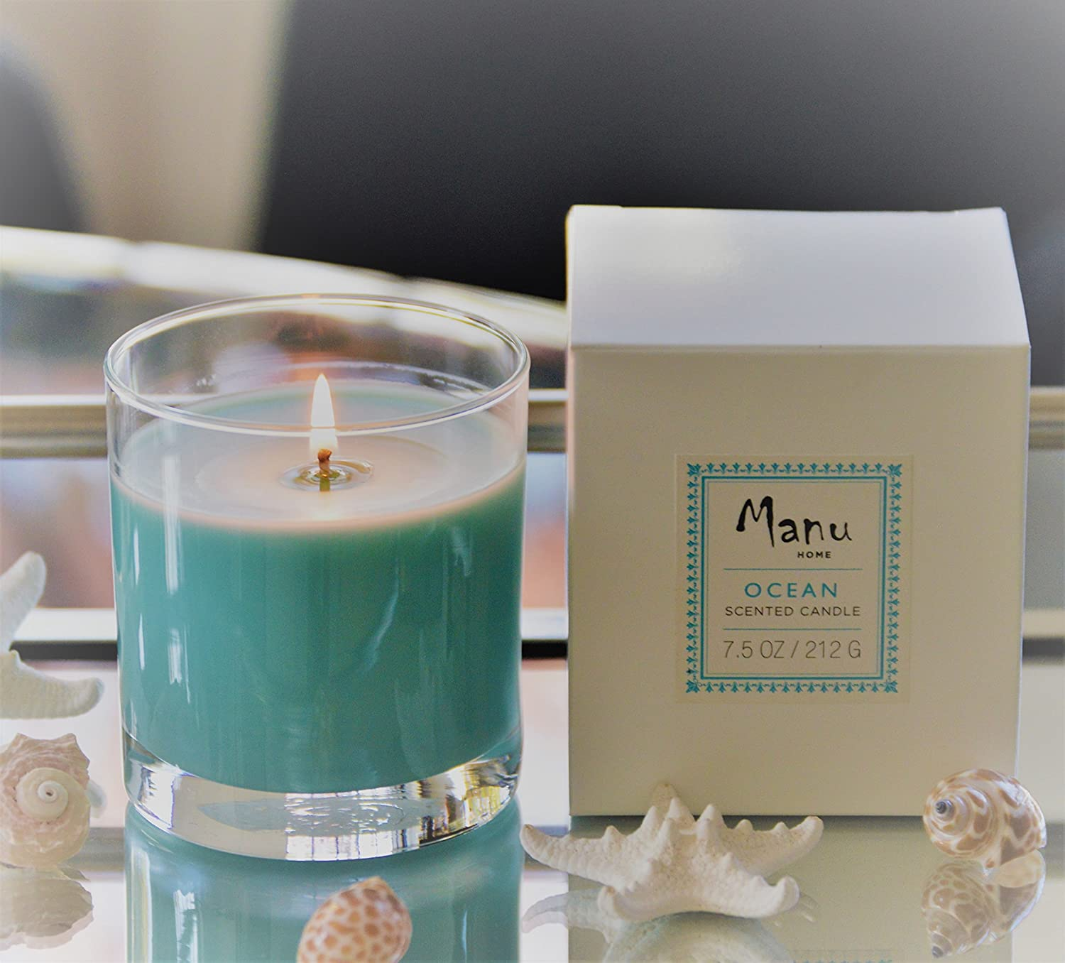 Manu Home Ocean Scented Candle ~ The Ocean Scent is soft and RELAXING ~ SOY Natural Wax used ~ Made in the USA!
