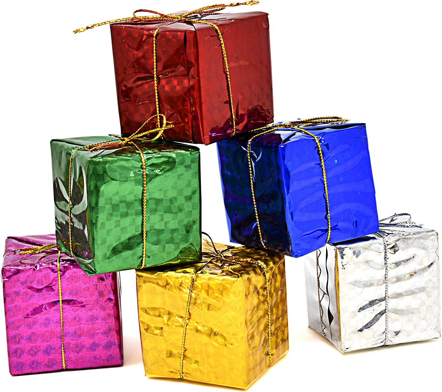 Gift Boutique Gift Box Christmas Ornaments 36 Pieces Mini Wrapped Present Boxes Miniature Foil Ornaments Decoration Boxes Assorted Colors Miniature 2 Inches