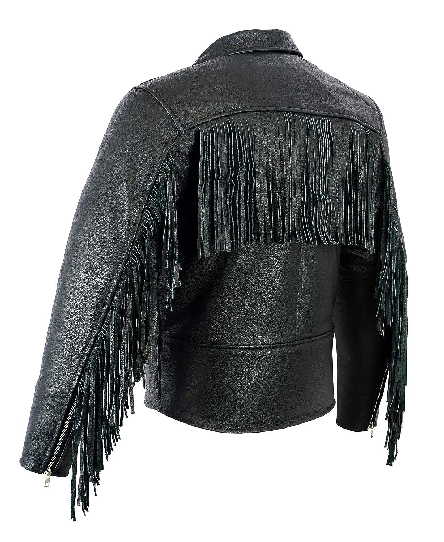 Stile Marlon Brando Giacca da Uomo per Motociclismo Pelle di Prima qualit/à con Frange