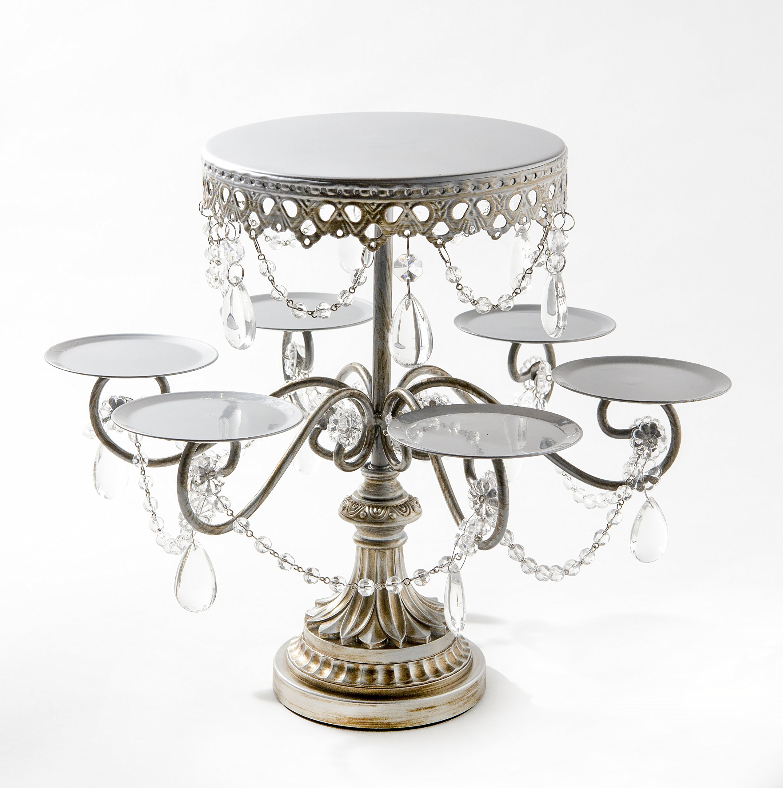 Opulent Treasures Rosebud Chandelier 7 Plate Metal Cupcake, Cake Pop, Mini Cake Wedding Dessert Tiered Tower (Silver)