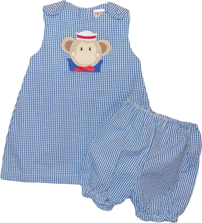 Petit Ami ZU Infant Girls Sailor Monkey Seersucker Sundress