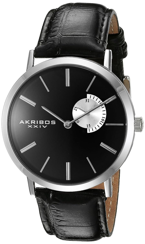 Akribos XXIV Men 's ak848ssbブラックダイヤルシルバーとブラックレザーストラップウォッチ B013GEJ0E8