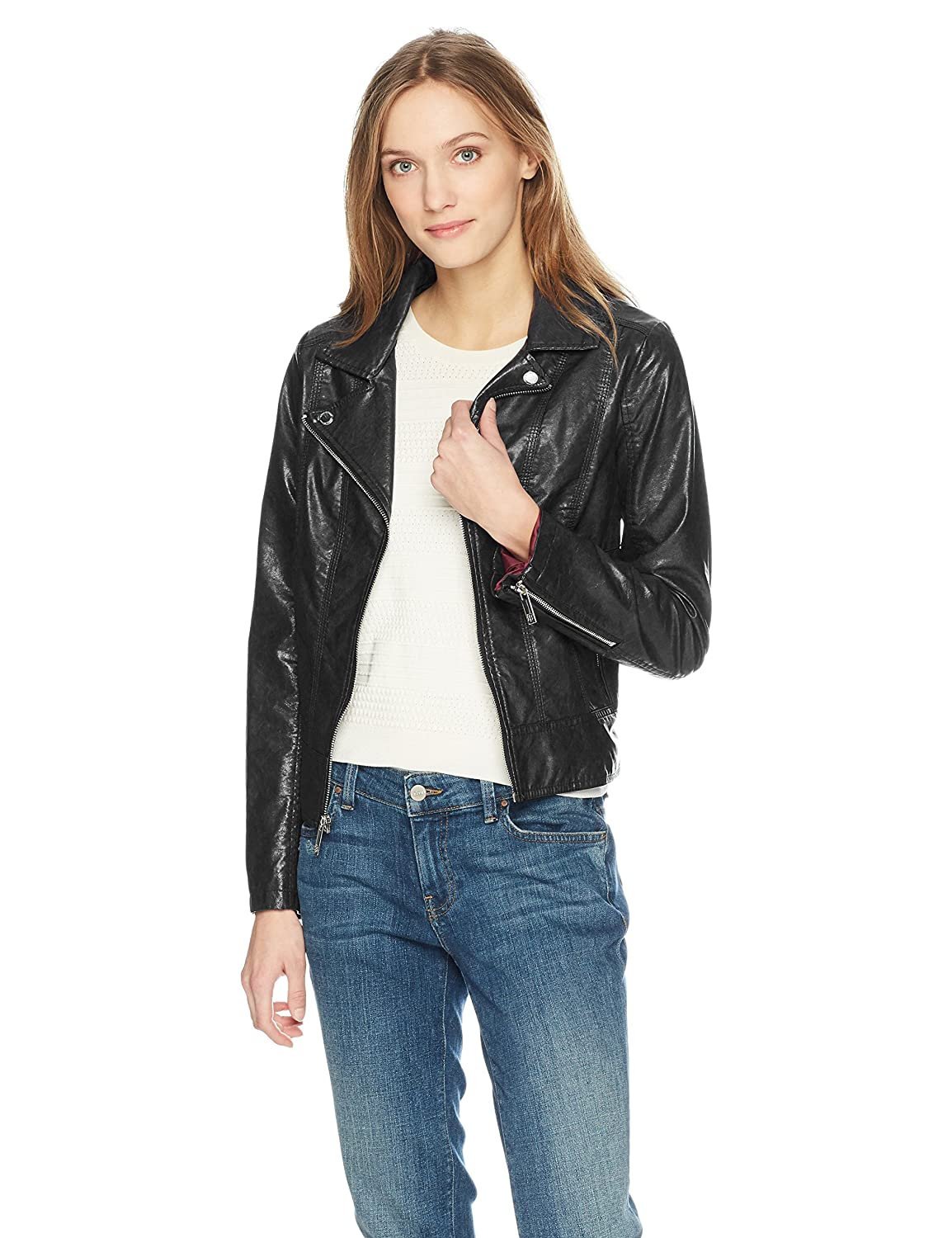 Tommy Hilfiger Women's Faux Leather Classic Moto Jacket at