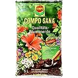 COMPO SANA Qualitäts-Blumenerde mit 8 Wochen Dünger für alle Zimmer-, Balkon- und Gartenpflanzen, Kultursubstrat, 5 Liter