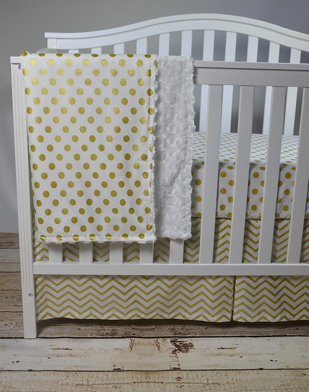 Lavender Linens Three Piece Metallic Gold Chevron and Dot Crib Bedding Set by Lavender Linens   B00NRDASX6
