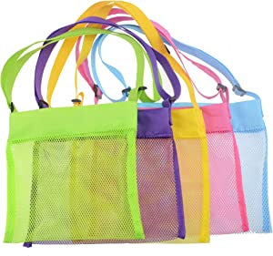 Shenglong Mesh Beach Bags,Seashell Mesh Bags(Set of 5) (5)