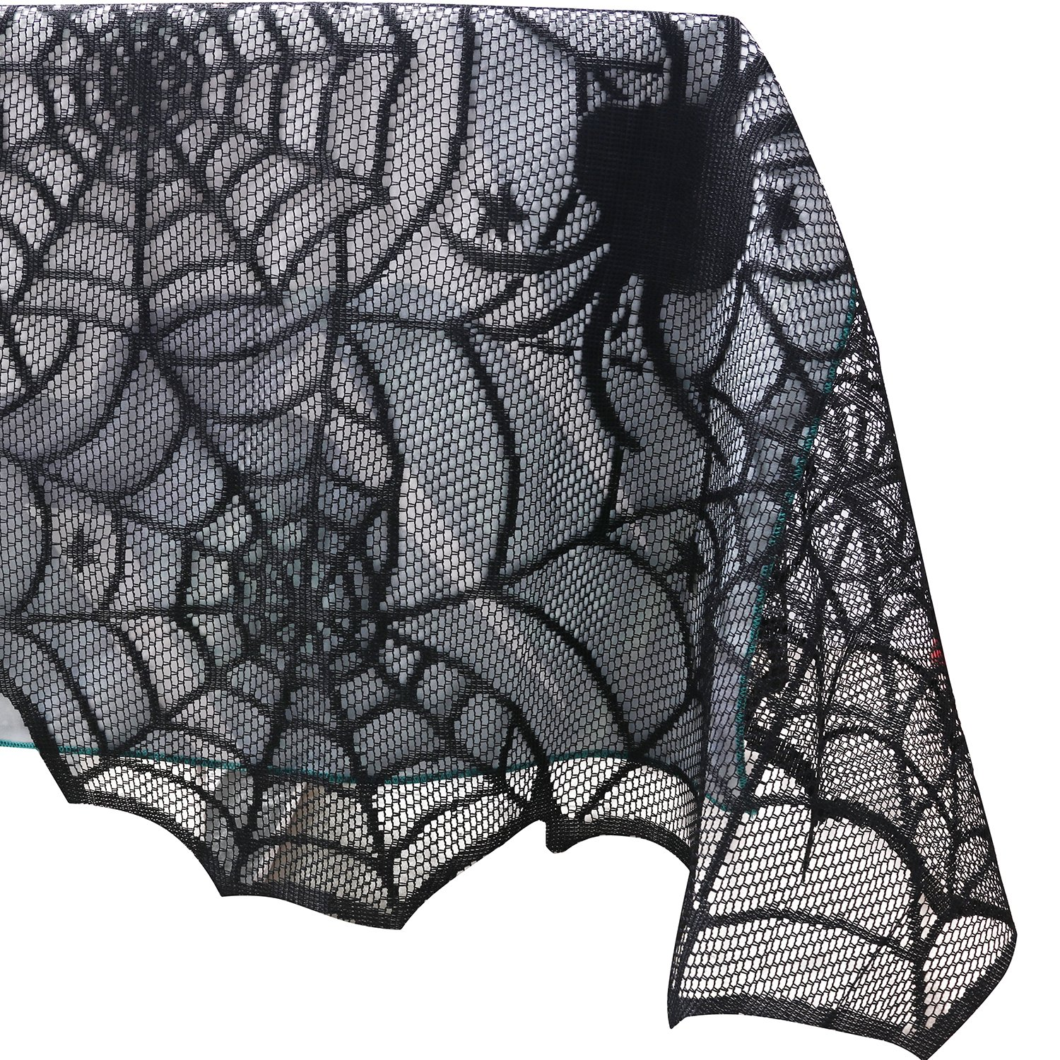 54x72 inch Rectangular Polyester Lace Tablecloth, Black Spider Web - Perfect for Halloween, Dinner Parties and Scary Movie Nights