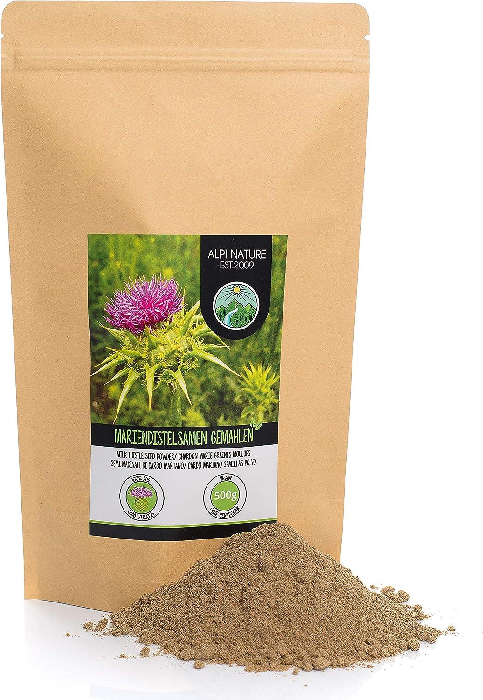 Semillas de cardo mariano molidas (500g), 100% naturales y puras, suavemente secadas y molidas