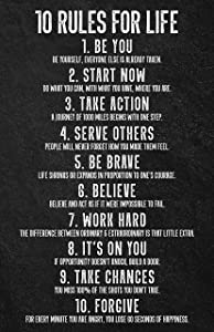 10 Rules for Life Inspirational Wall Art | 11x17 Motivational Poster for Home, Bedroom, Office, Gym, Classroom Décor, or Any Room | Set 2