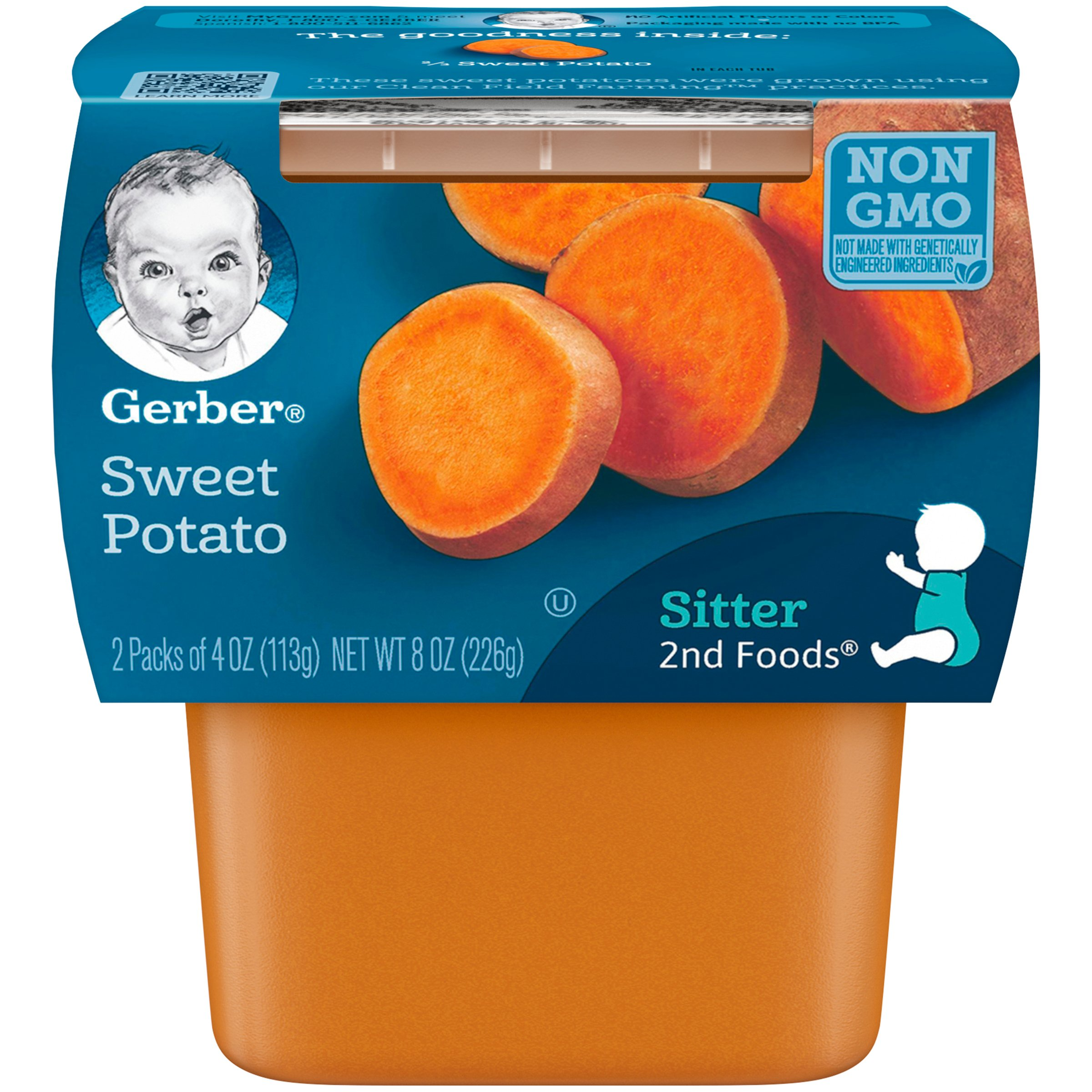 Gerber 2nd Foods Sweet Potatoes, 4 Ounce Tubs, 2 Count (Pack of 8) by GERBER